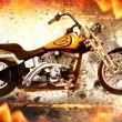 Bike on fire — Stock Photo