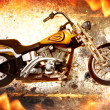 Bike on fire - Stock Photo