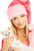 Beautiful mrs. Santa with lovely british kitten. Isolated on whi — Stock Photo