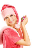 Beautiful mrs. Santa with Christmas decoration. Isolated on whit — Stock Photo