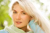 Beautiful romantic blonde close-up portrait — Stock Photo