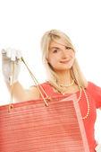 美しい若い女性、バッグ。白い背景で隔離 — ストック写真