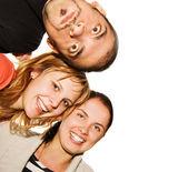 Amigos felices aislados sobre fondo blanco — Foto de Stock