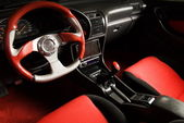 Tuned sport car. Luxury red velvet interior — Stockfoto