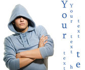 Young handsome man in a hood isolated on white background — Stock Photo