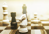 Game of chess toned in sepia — Stock Photo