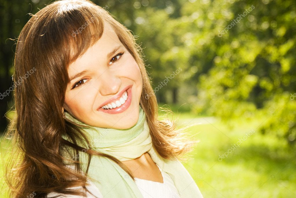 Beautiful romantic brunette close-up portrait  Stock Photo #4790819