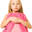 Sad young girl with a pink backpack — Stock Photo #4800475