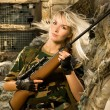Beautiful woman soldier with a sniper rifle - Foto de Stock