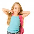 Young girl with a pink backpack — Stock Photo