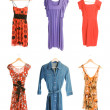 Collection of six differend dresses isolated on white background — Stock Photo
