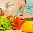 Preparing vegetable salad - Stock Photo
