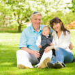 Happy family sitting on a meadow in park — Stock Photo