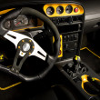 Tuned sport car interior - Stock Photo