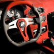 Stock Photo: Tuned sport car. Luxury red velvet interior