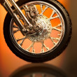 Motorcycle wheel on abstract background — Stock Photo
