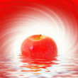 Red apple reflected in rendered water — Stock Photo