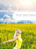 Happy young woman in a flower field. Graphic design element are — Stock Photo