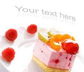 Tasty low-carorie fruit cake isolated on white background — Stock Photo