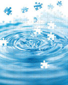 Water splash with puzzle effect — Stock Photo