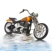レンダリングされた水に反映オートバイ — ストック写真