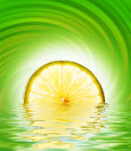 Lime slice in rendered water — Stock Photo