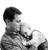 Father with his child isolated on white background — Stock Photo