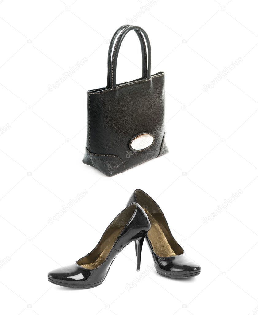 Kit of two items, sexy shoes with high heel and elegant black le
