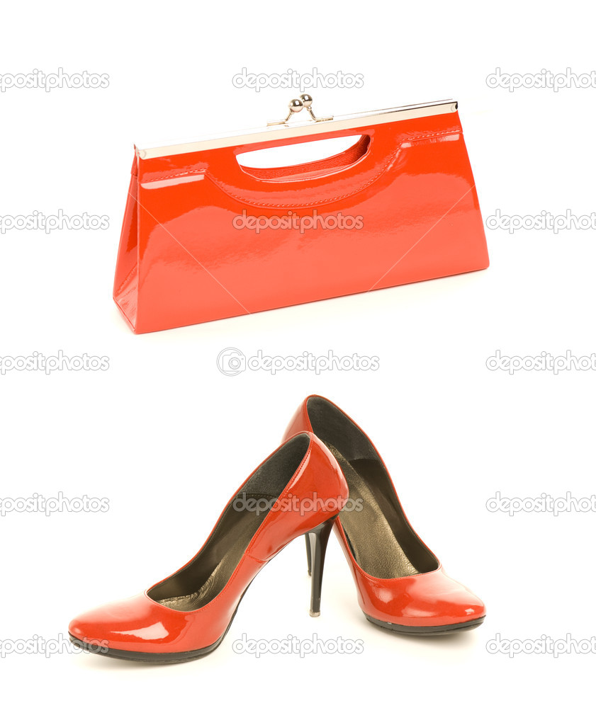 Kit of two classic items, sexy red shoes with high heel and elegant leather handbag — Stock Photo #4800606