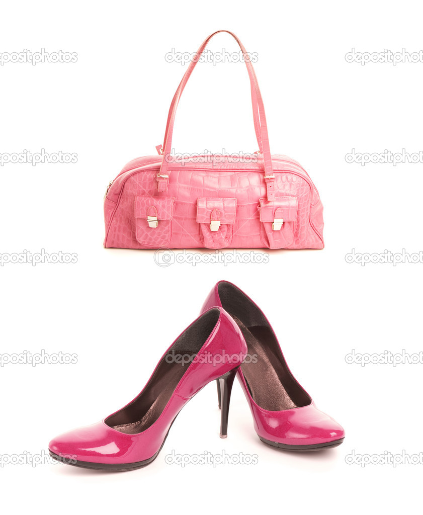 Kit of two items, sexy shoes with high heel and elegant pink leather handbag — Stock Photo #4800608