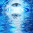 Human eye on blue abstract background reflected in rendered wate — Stock Photo