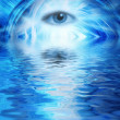 Human eye on blue abstract background reflected in rendered wate - Stock Photo