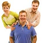 白い背景上に分離されて 3 つの幸せな友達 — ストック写真