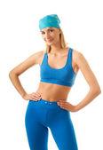 Mooie jonge vrouw doen fitness oefening geïsoleerd op witte b — Stockfoto