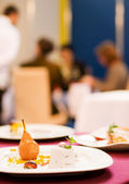 Served table in a restaurant (shallow DoF) — Stock Photo