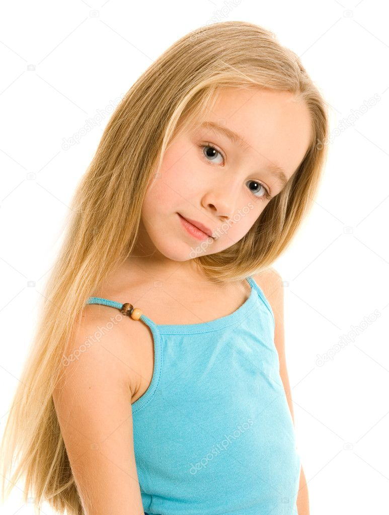 beautiful little girl isolated on white background stock