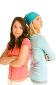 Two teenage girl in odds with each other — Stock Photo