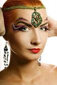 Beautiful irish girl with creative make-up — Stock Photo