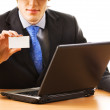 Business man holding empty card — Stock Photo