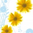 Yellow flowers on abstract blue background — Stock Photo #4903301