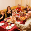 Happy family celebrating — Foto Stock