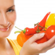 Beautiful girl with fresh vegetables — Stock Photo