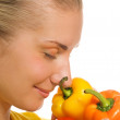 Beautiful girl with fresh vegetables — Stock Photo #4903526