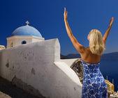 Beautiful blond woman praying — Zdjęcie stockowe