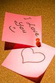 Love message on a corkboard — Stock Photo