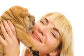 Beautiful girl with sharpei puppy — Stock Photo