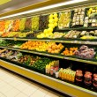 Fruit and vegetable section in a shop — Stock Photo