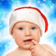 Adorable baby on abstract winter background — Stock Photo #4959181