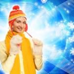 hermosa chica en ropa de invierno en resumen antecedentes — Foto de Stock