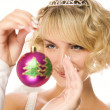 Beautiful blond girl with Christmas-tree decorations (shallow Do — Foto de Stock